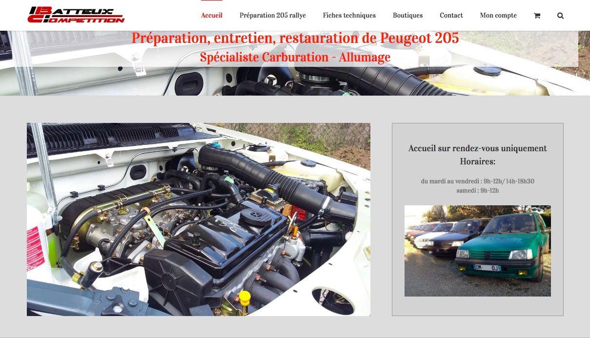 création de site web batteux compétition spécialiste Peugeot 205 GTI