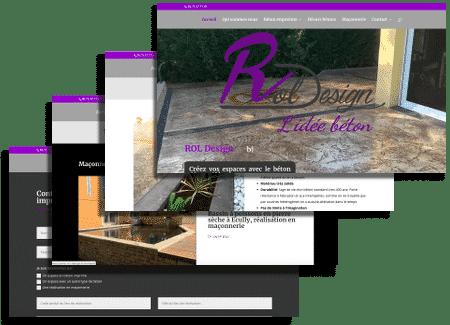 écrans création du site de Rol design