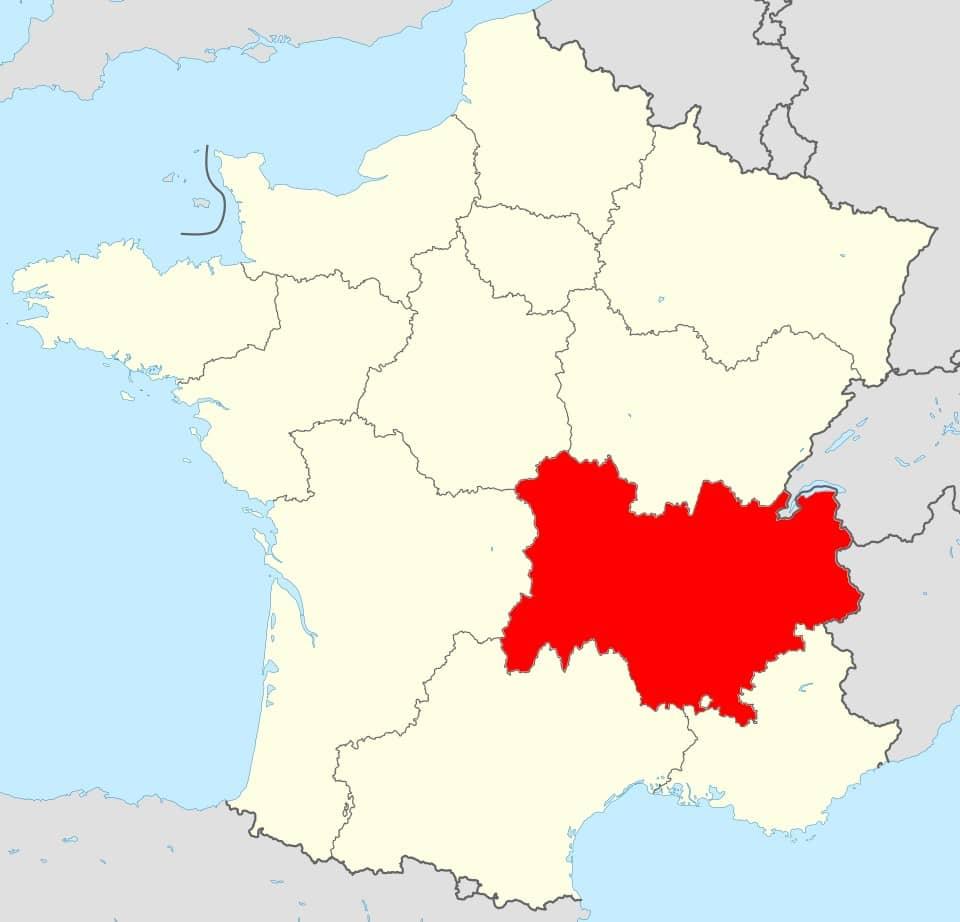 Carte de France région Auvergne Rhône Alpes