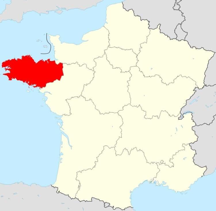Carte de la France région Bretagne