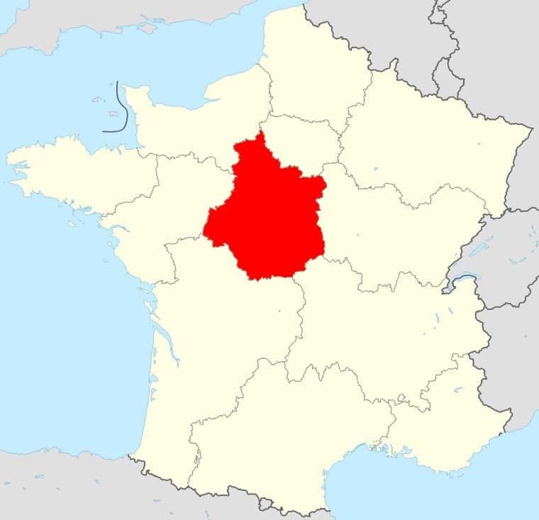 Carte de la France région Centre Val de Loire