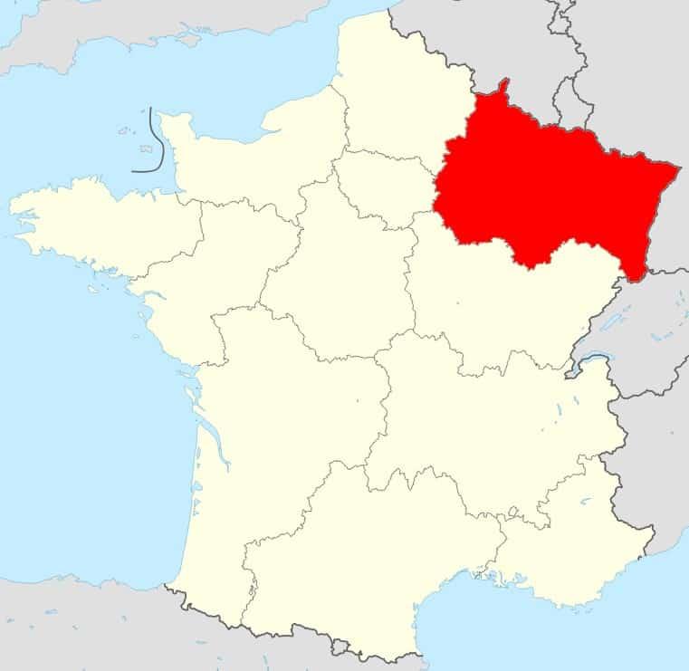 Carte de la France région Grand Est