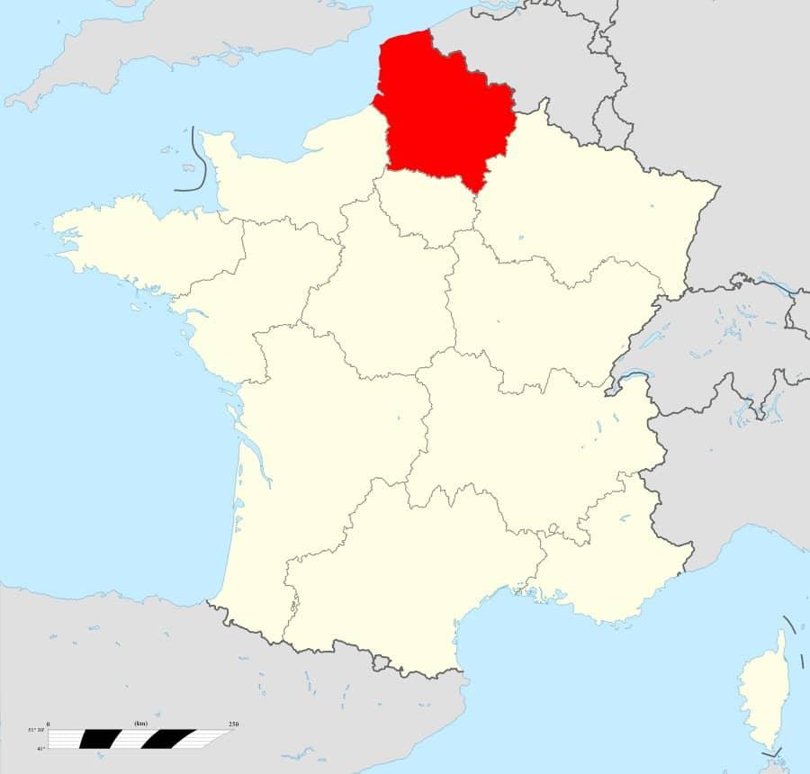 Carte de la France Réhion Hauts-de-France