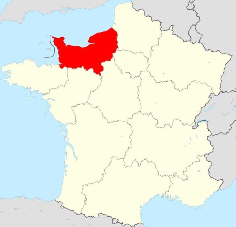 Carte de la France région Normandie