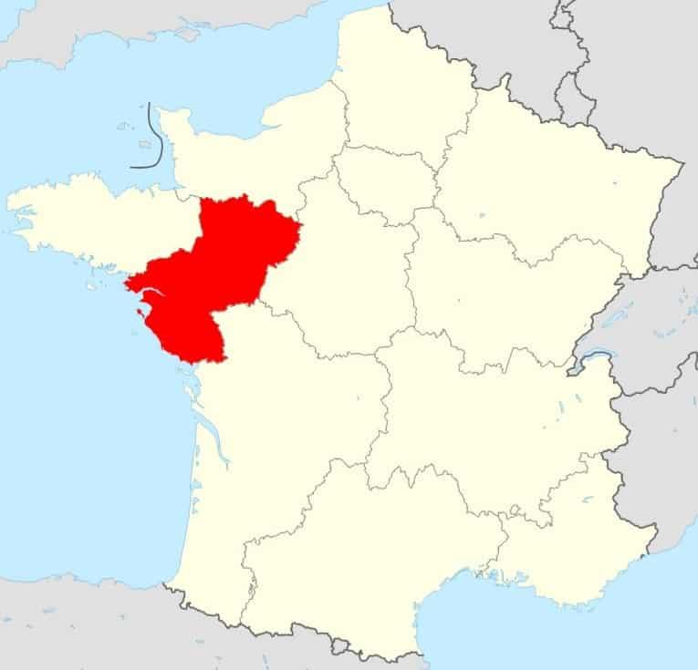 Carte de la France région Pays de la Loire