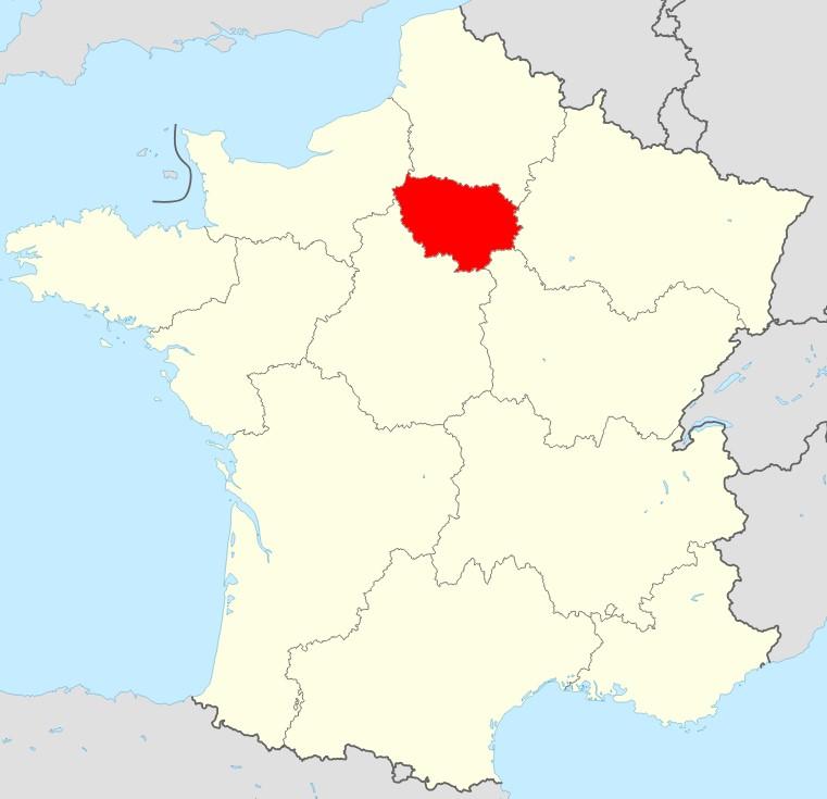 Carte de la France région Ile de France
