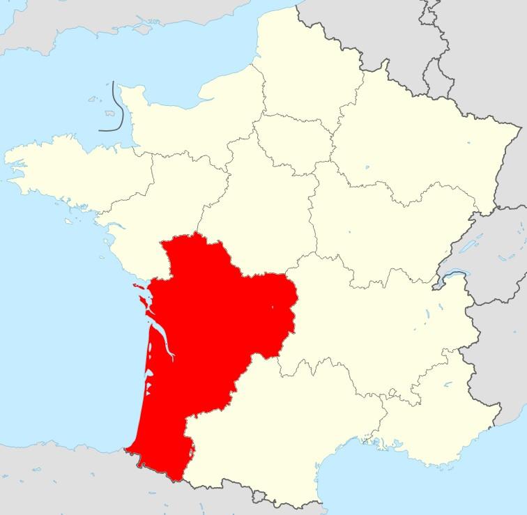 Carte de la France région Nouvelle Aquitaine