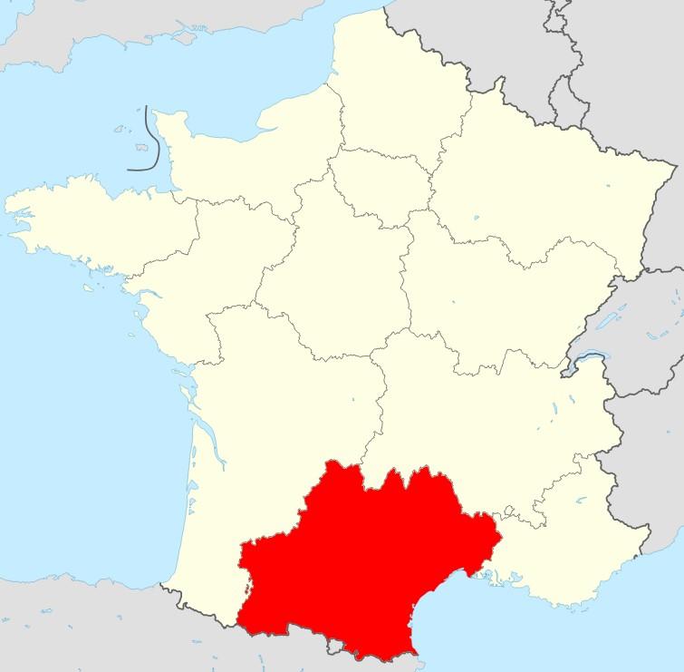 Carte de la France région Occitanie