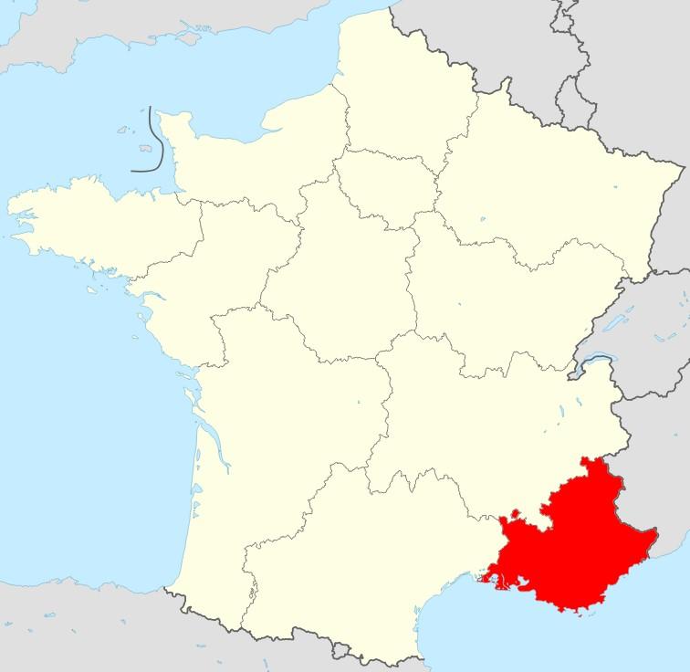Carte de la France région Sud